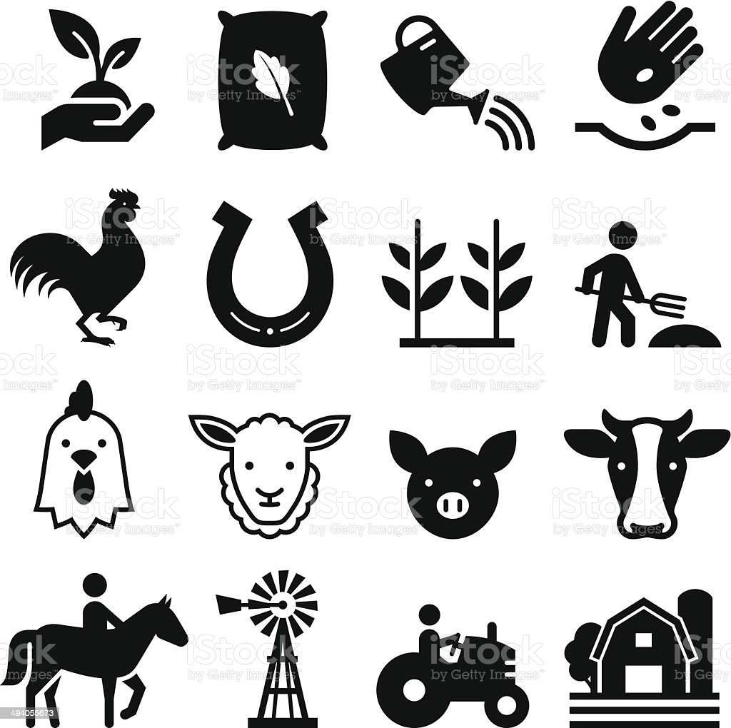 Farm Icons - Black Series vector art illustration