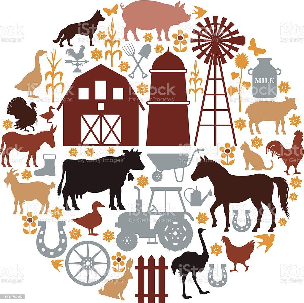 Farm Icons Composition vector art illustration