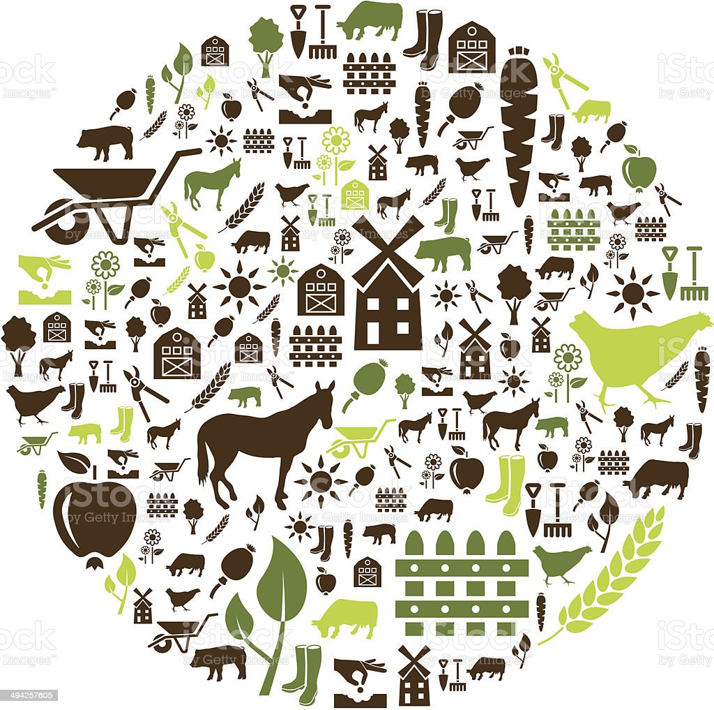farm icons in circle vector art illustration