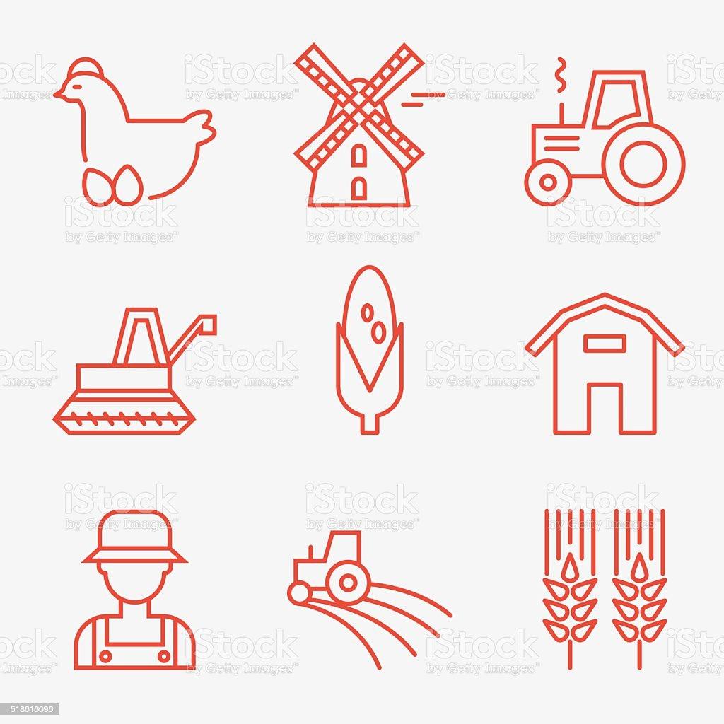Farm icons vector art illustration