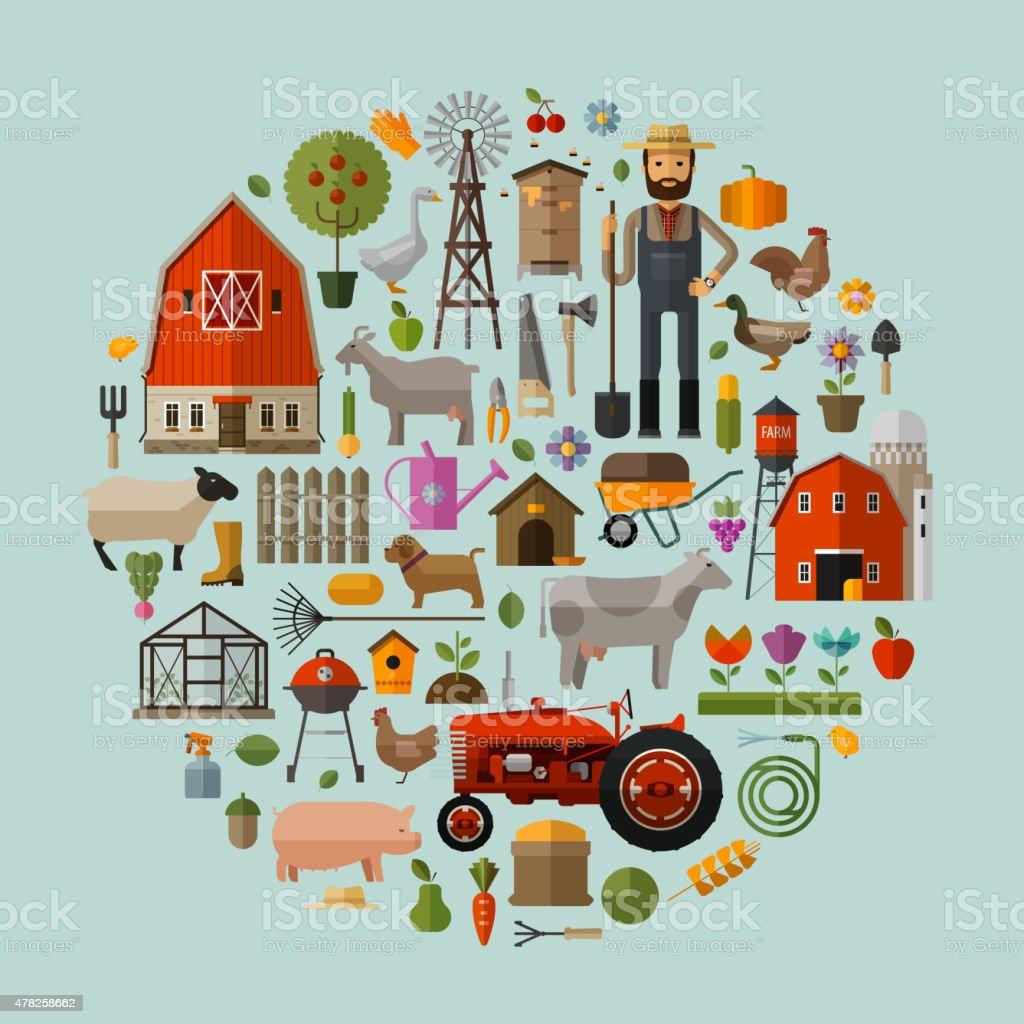 farm in the village. A set of elements - house vector art illustration