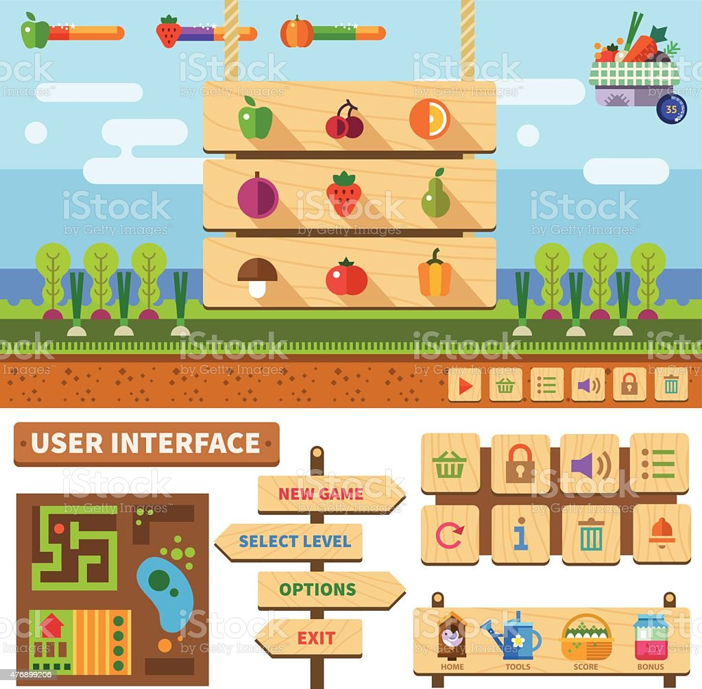 Farm in the village. Wooden User Interface for game vector art illustration