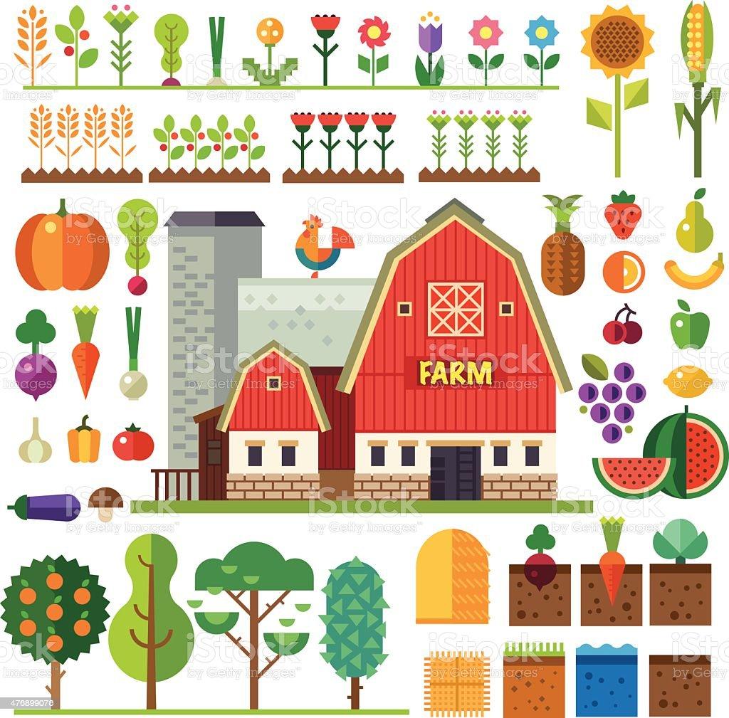 Farm in village. Elements for game vector art illustration