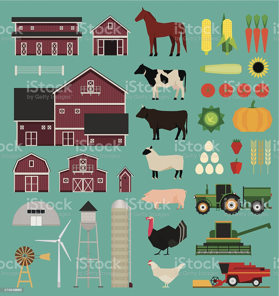 Farm infographic set vector art illustration