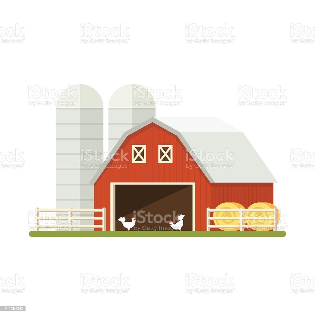 Farm isolated on white background. Flat illustration. vector art illustration