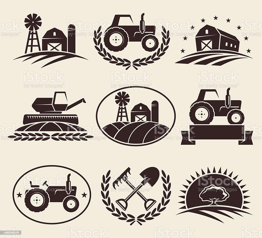 Farm labels set. Vector vector art illustration