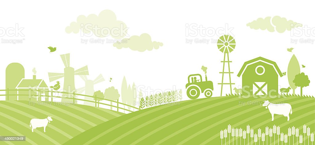 Farm landscape at sunset royalty-free stock vector art