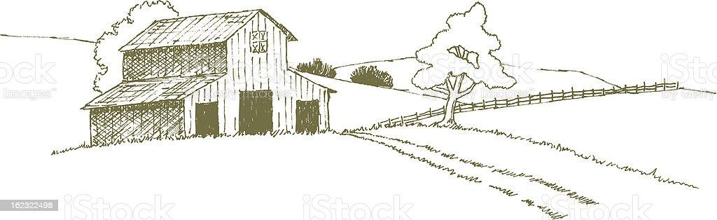 Farm Landscape vector art illustration