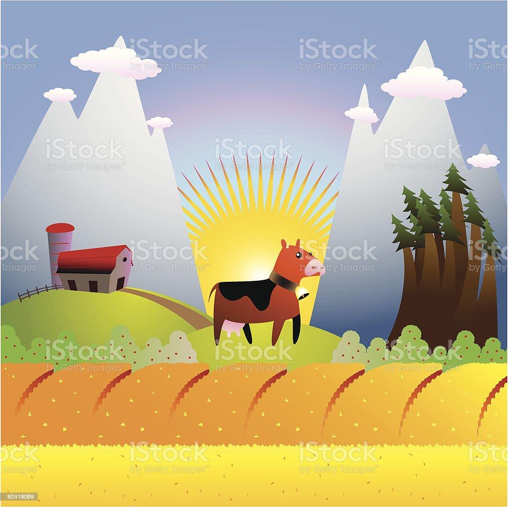 farm landscape royalty-free stock vector art