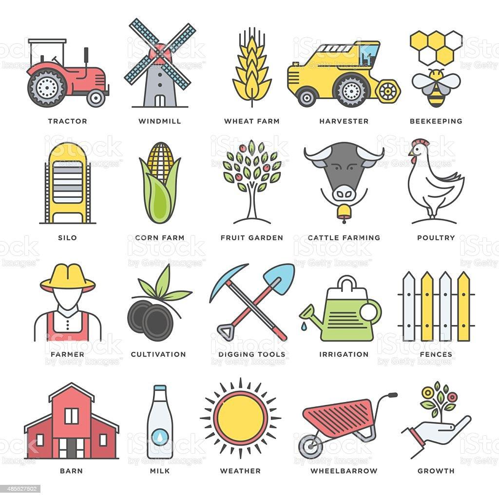 Farm Life, Farming and Agriculture vector art illustration