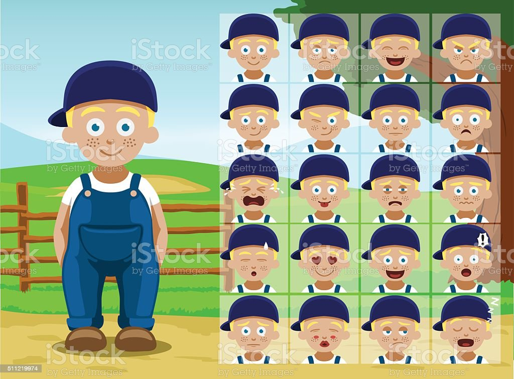 Farm Little Boy Cartoon Emotion faces Vector Illustration vector art illustration