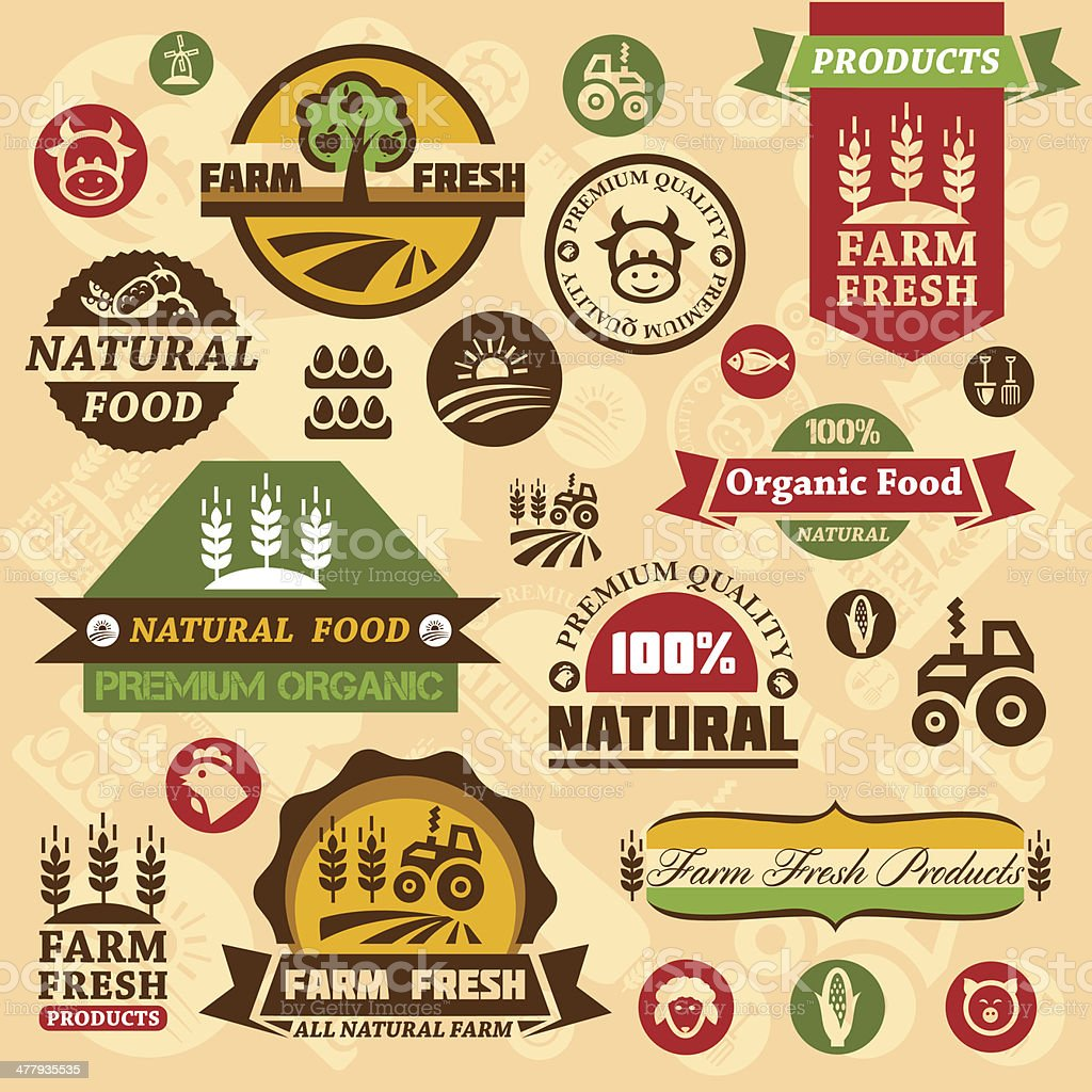 farm logo labels and designs vector art illustration