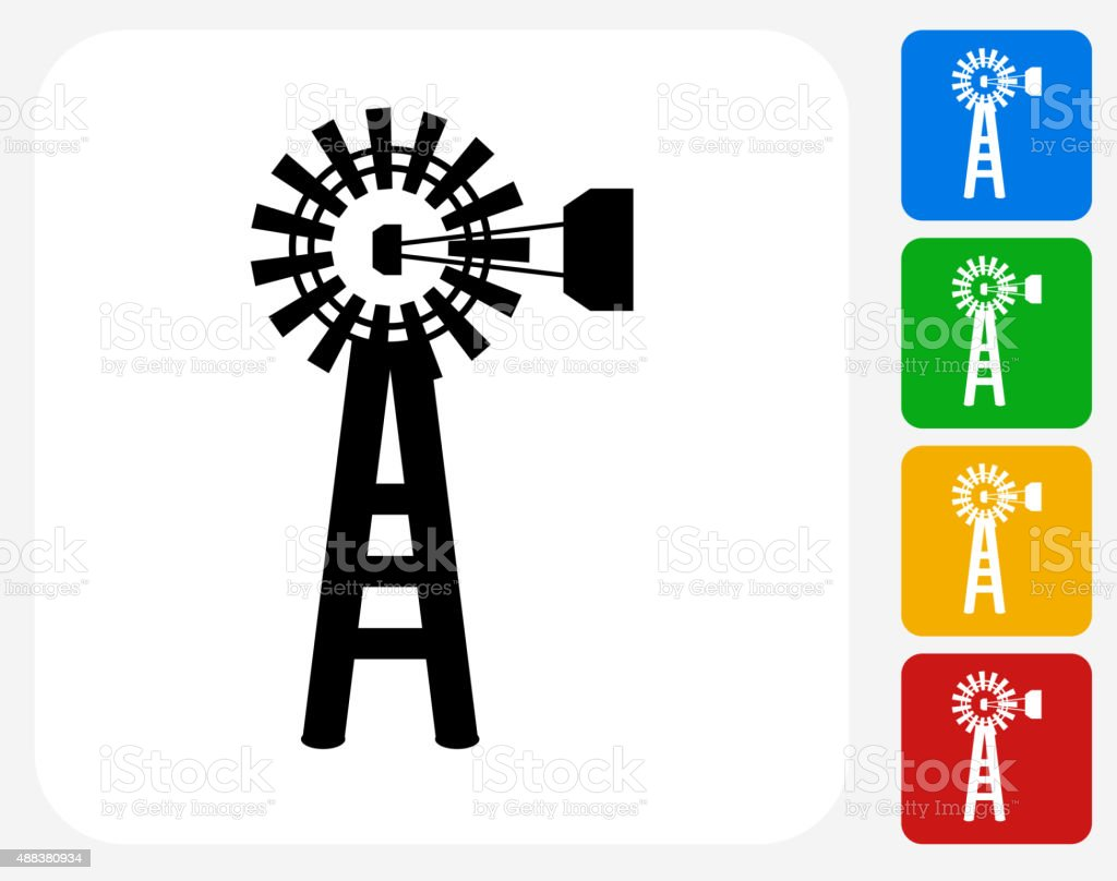 Farm Mill Icon Flat Graphic Design vector art illustration