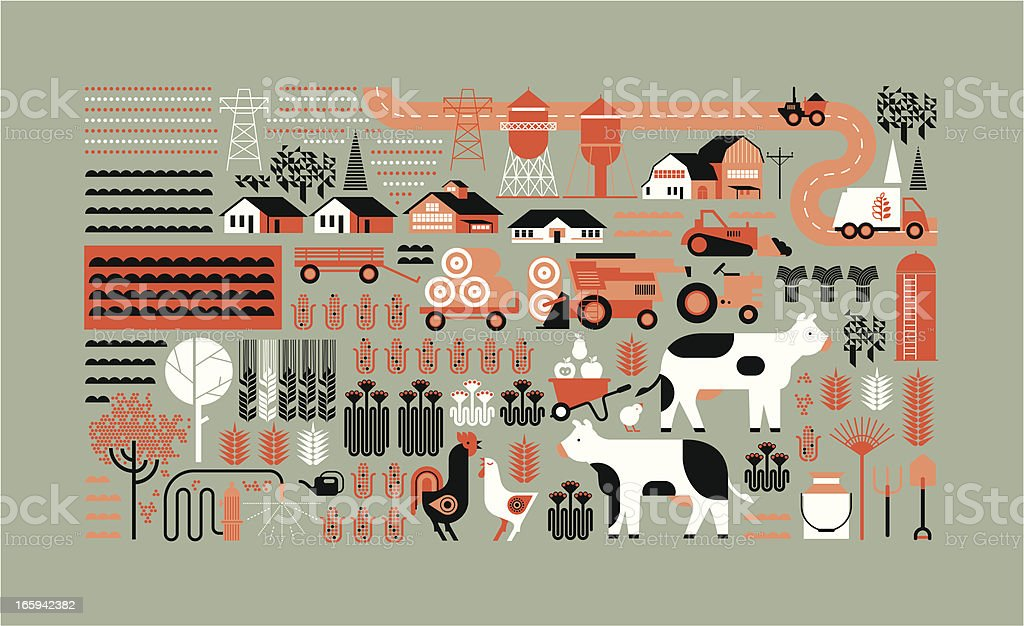 Farm panorama vector art illustration