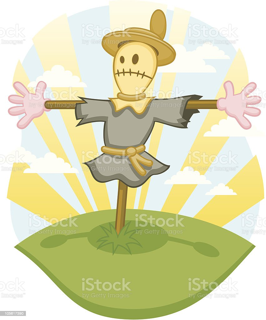 Farm Scarecrow in a  Sunny Field royalty-free stock vector art