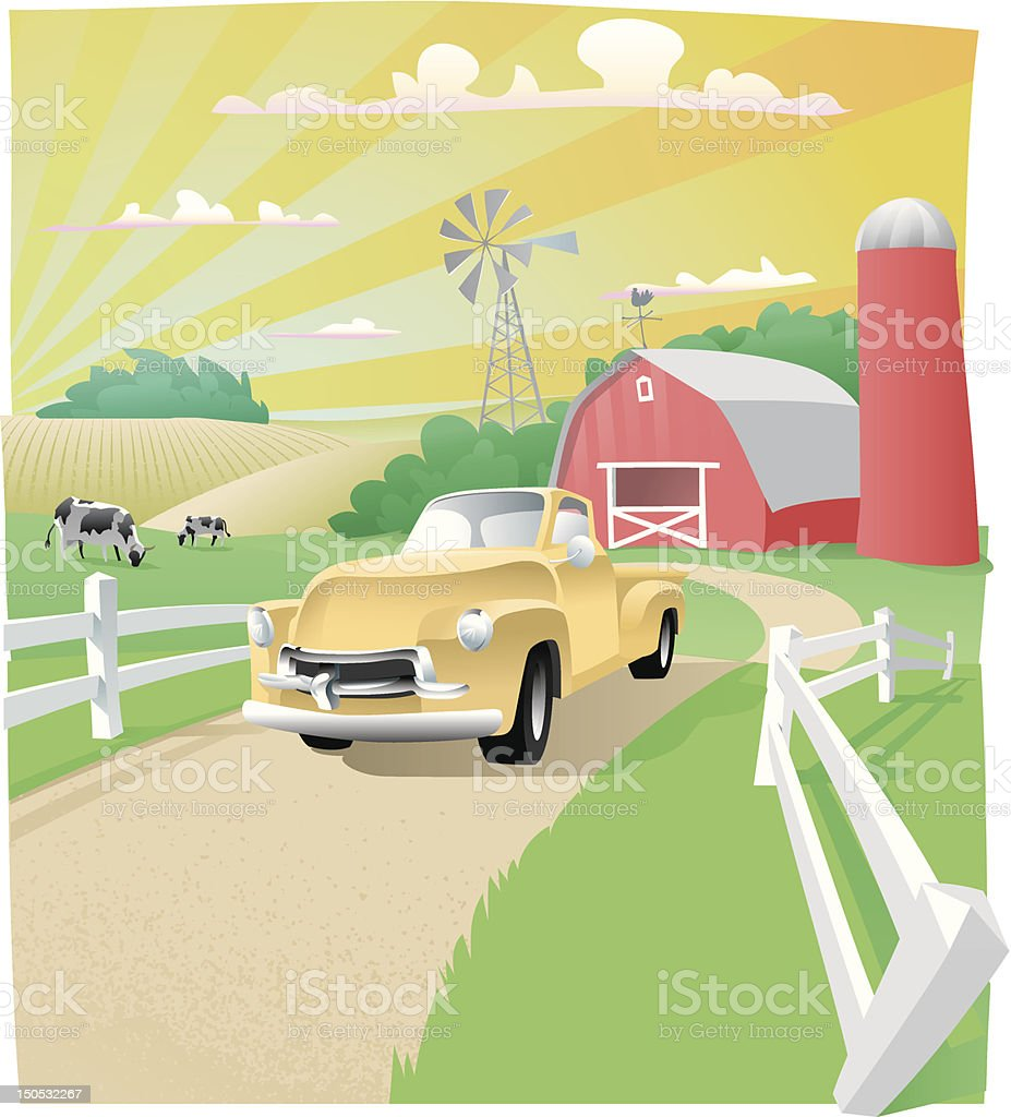 Farm Scene royalty-free stock vector art