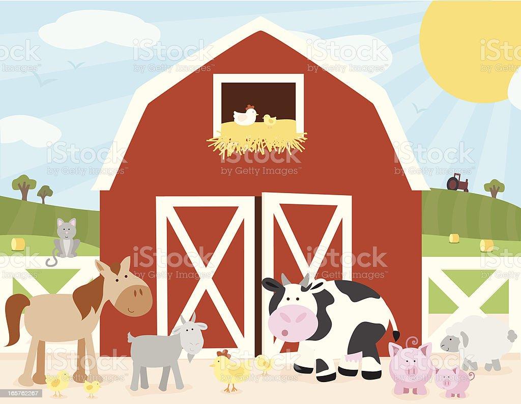 Farm Scene vector art illustration