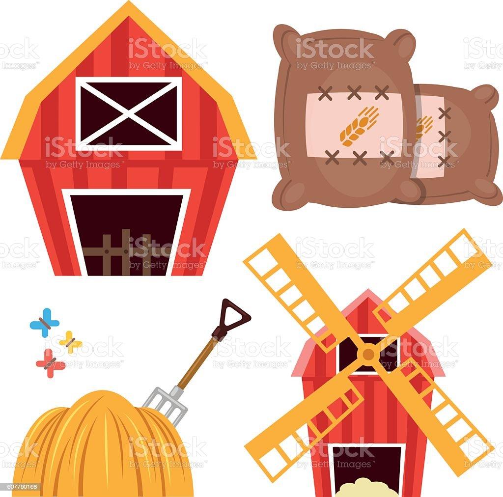 Farm set. Barn, wheat bags, haystack, forks, windmill. Flat design vector art illustration