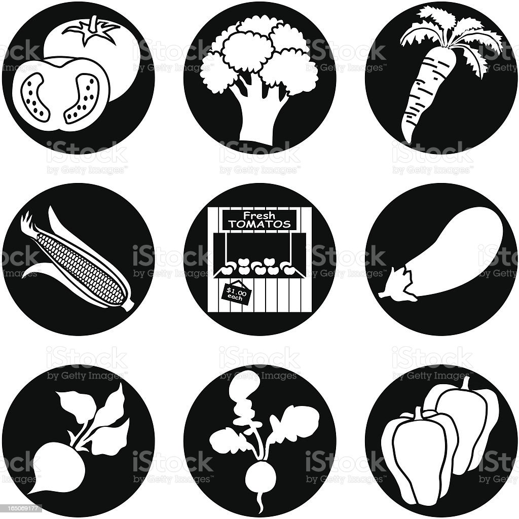 farm stand icons reversed royalty-free stock vector art