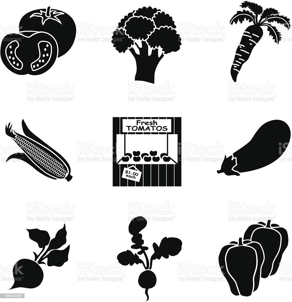 farm stand icons vector art illustration