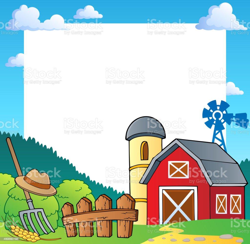 Farm theme frame 1 vector art illustration