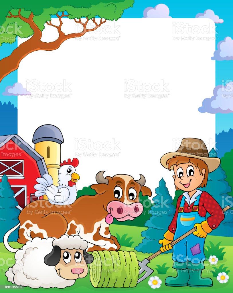 Farm theme frame 3 royalty-free stock vector art