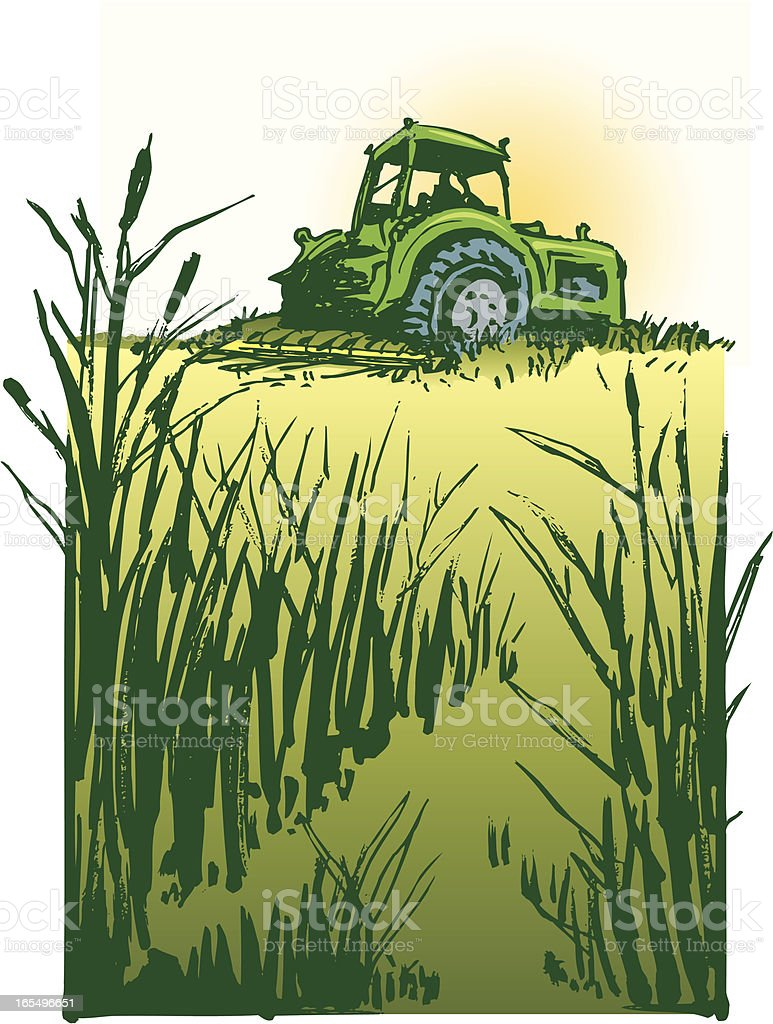 Farm Tractor at Harvest Time royalty-free stock vector art