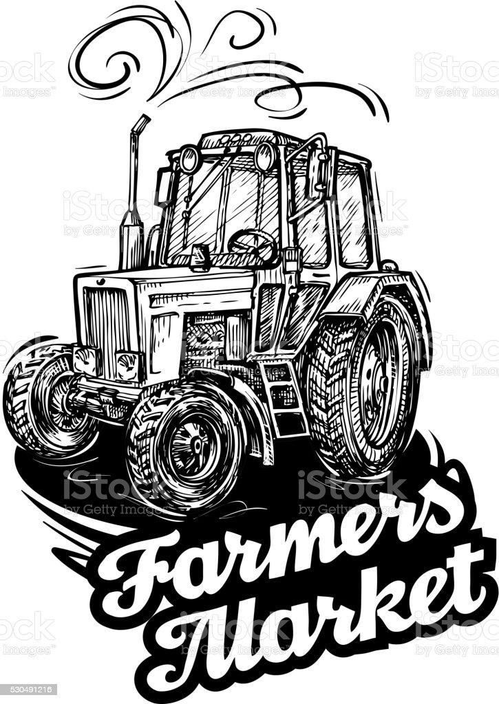 farm tractor. hand-drawn sketch. vector illustration vector art illustration
