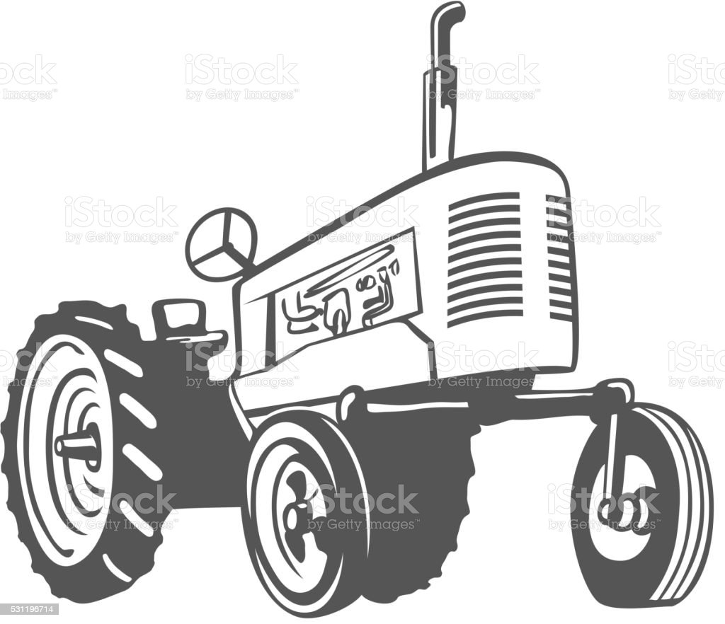 Farm Tractor Monochrome Design. Vector vector art illustration