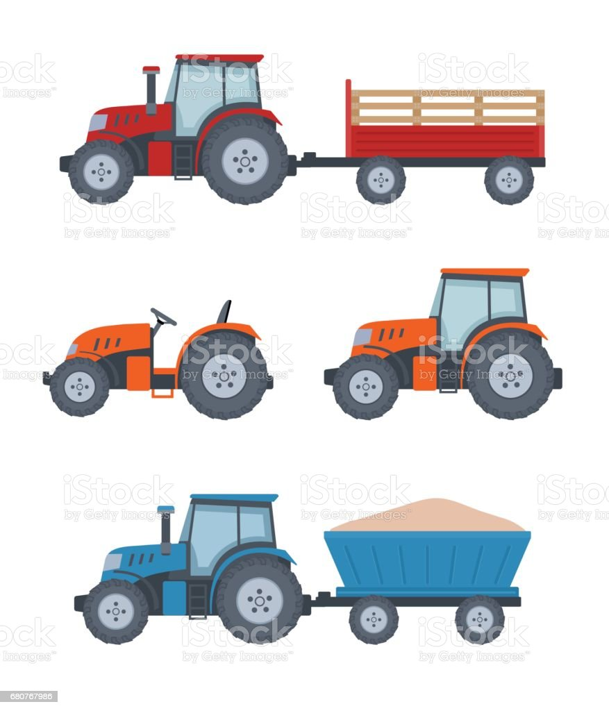 Farm tractor set on white background. vector art illustration