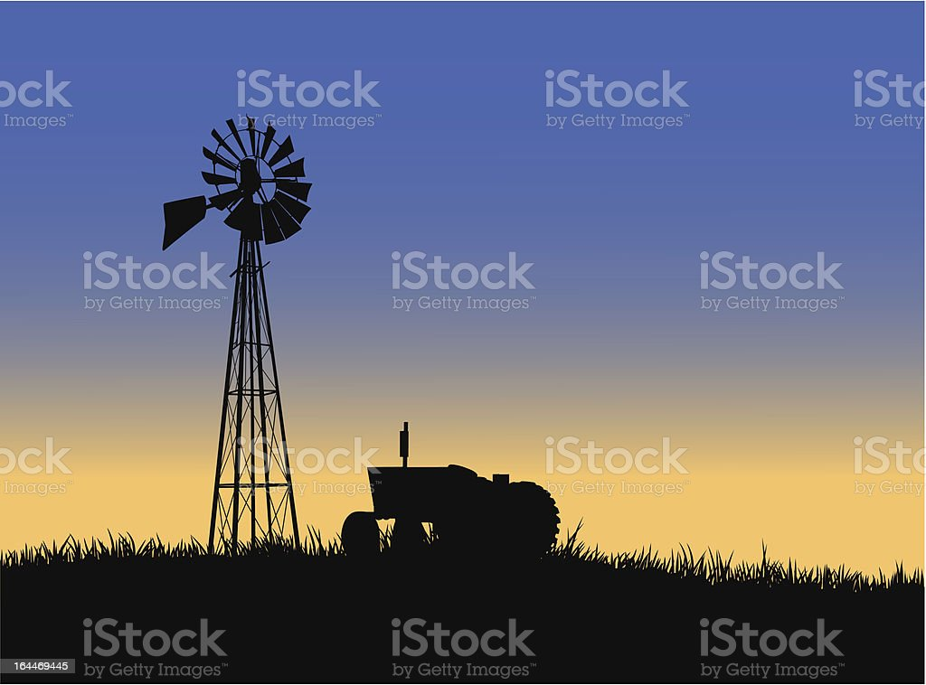 Farm tractor with windmill royalty-free stock vector art