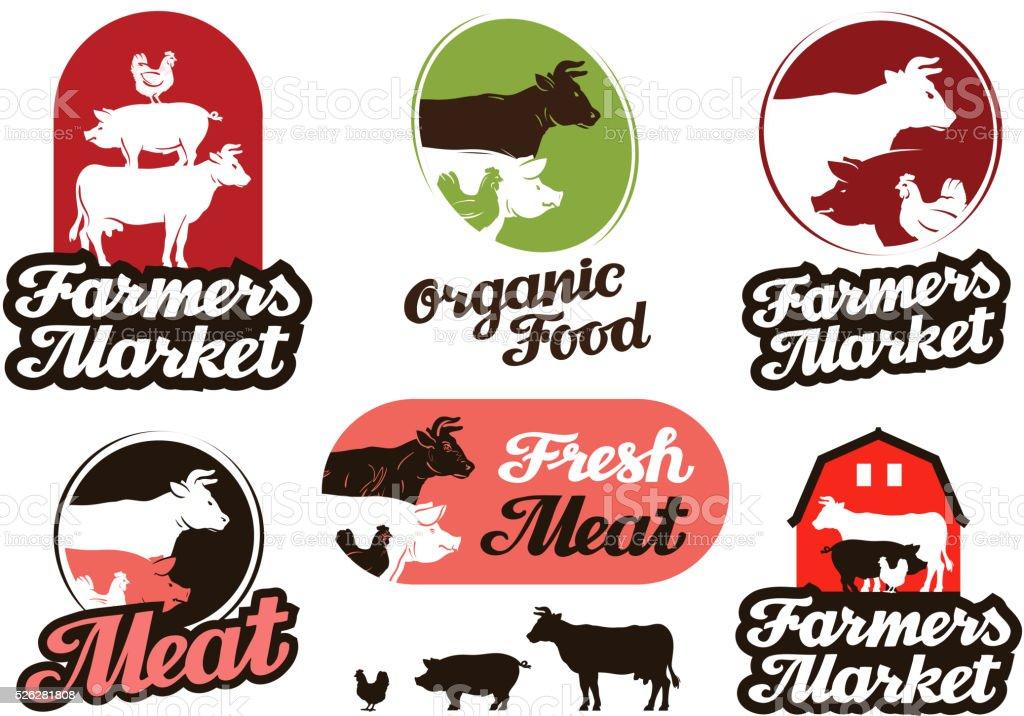 farm vector logo. meat, food, livestock breeding icon vector art illustration