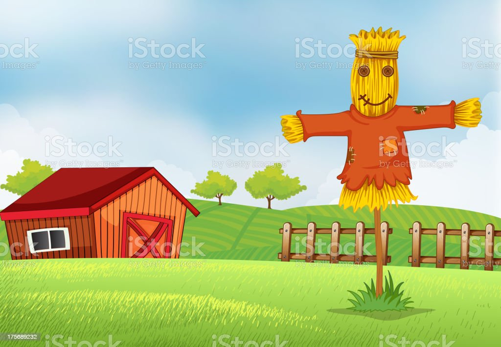 farm with a barn and  scarecrow royalty-free stock vector art