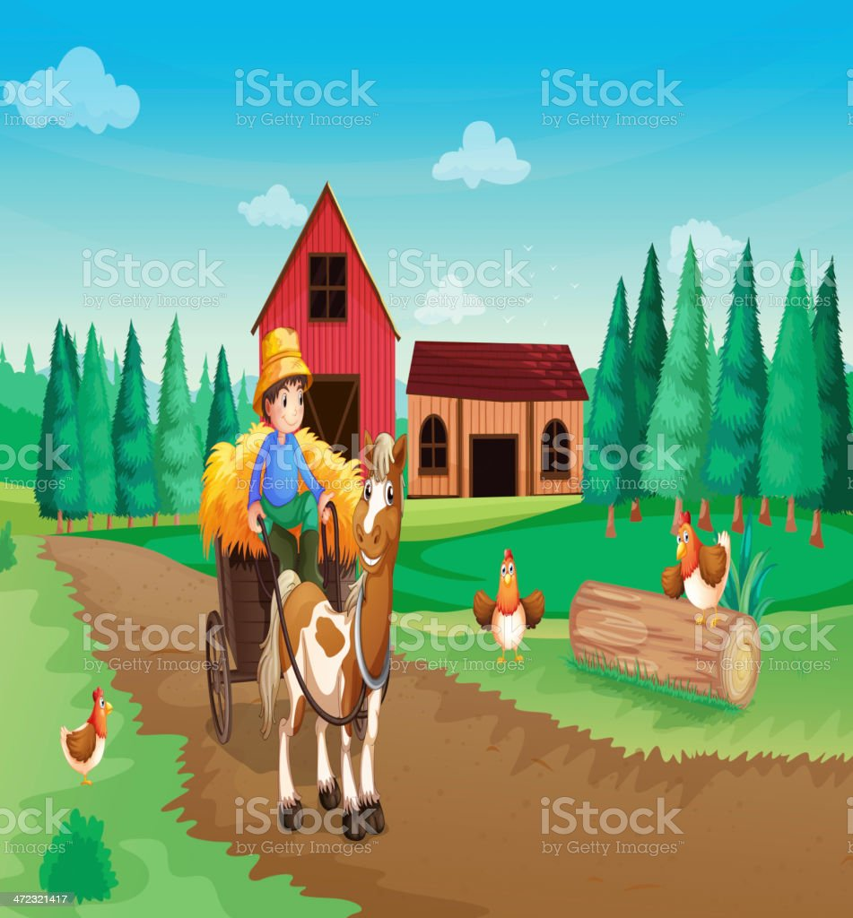 Farm with a farmer and his pets royalty-free stock vector art