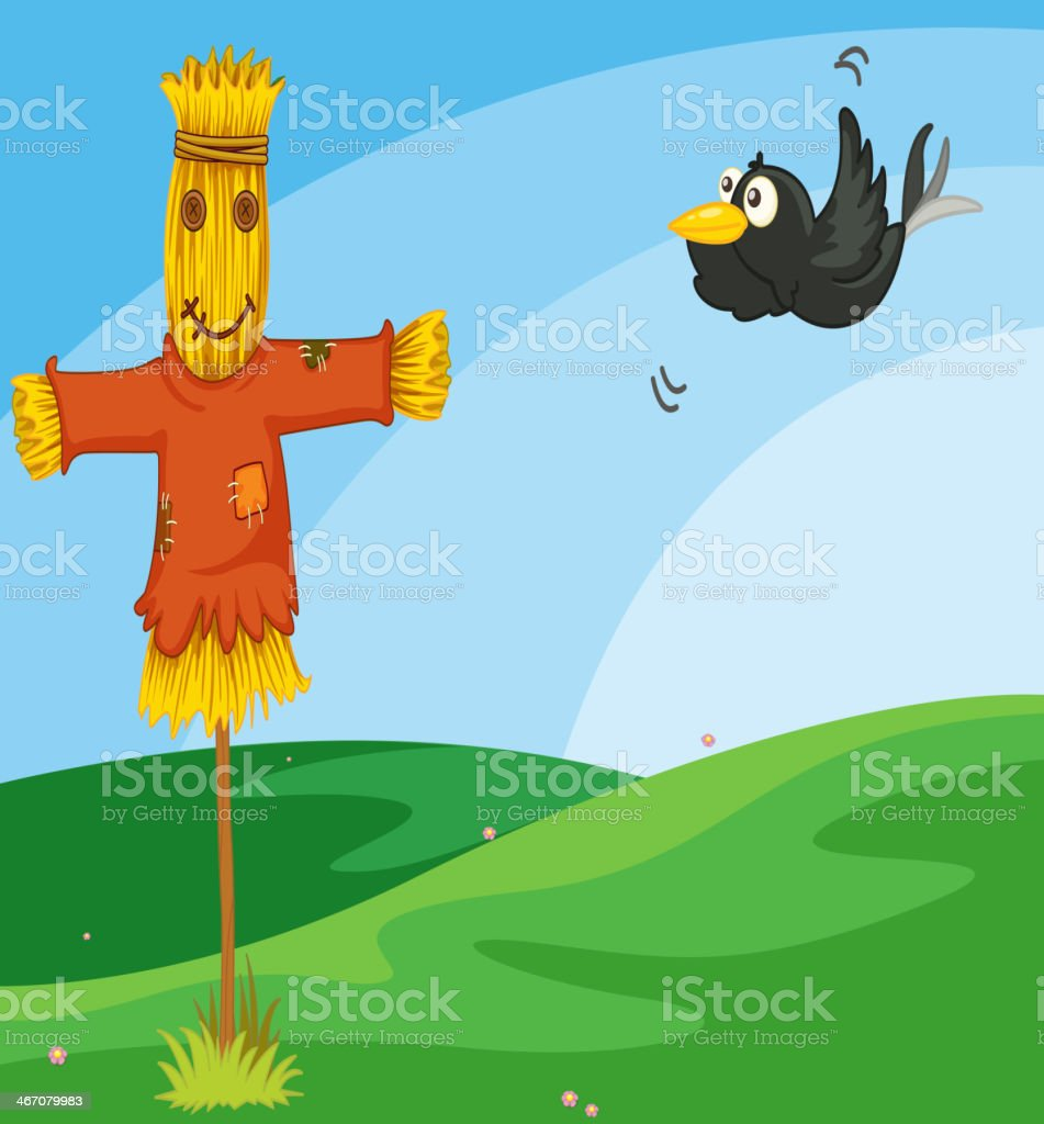 farm with barn and a scarecrow royalty-free stock vector art
