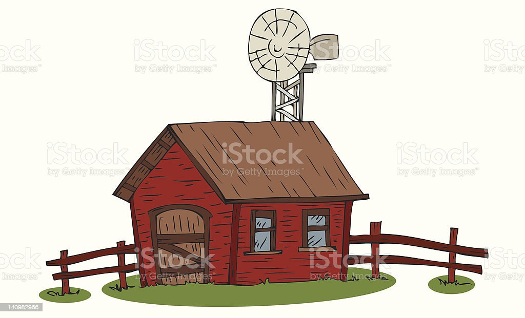 Farm with windmill. royalty-free stock vector art