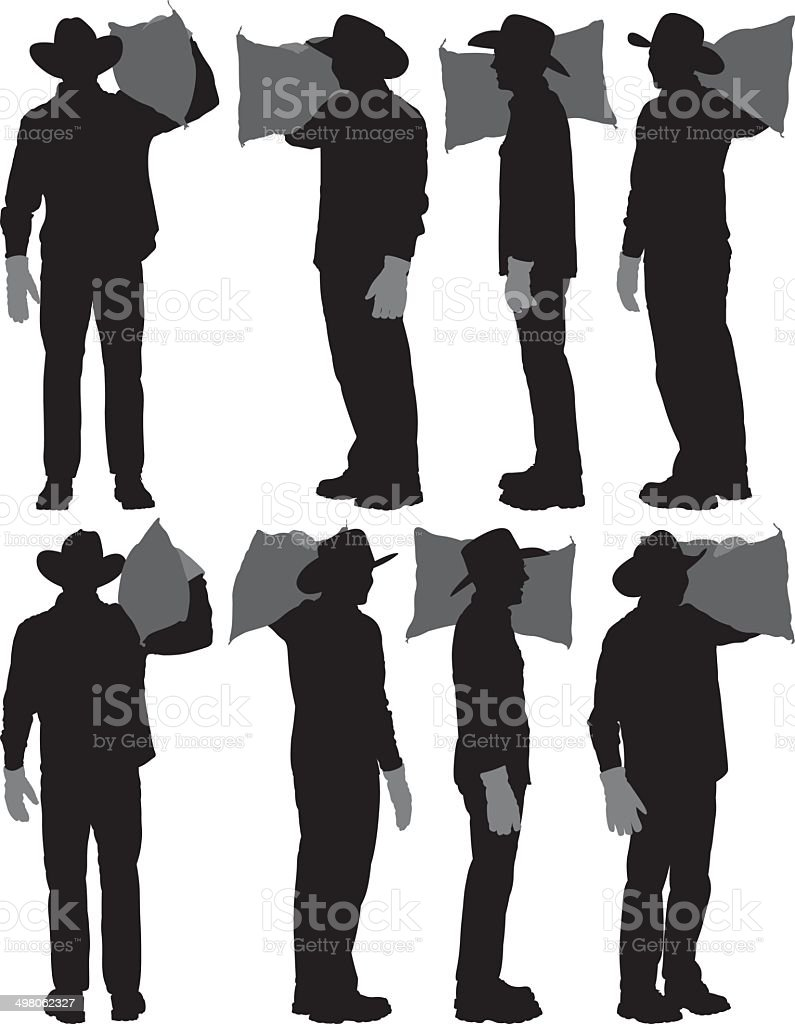 Farmer carrying potato sack vector art illustration