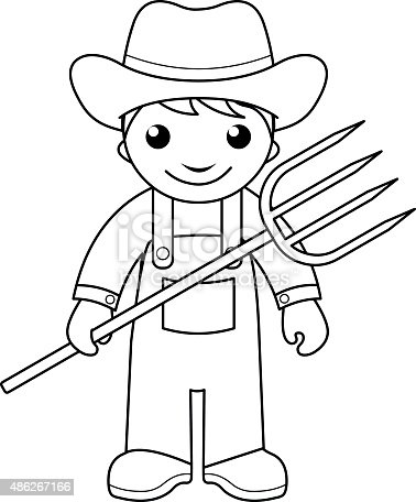 Farmer Coloring Page For Kids stock vector art 486267166