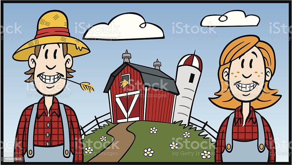 Farmer Couple on Farm royalty-free stock vector art