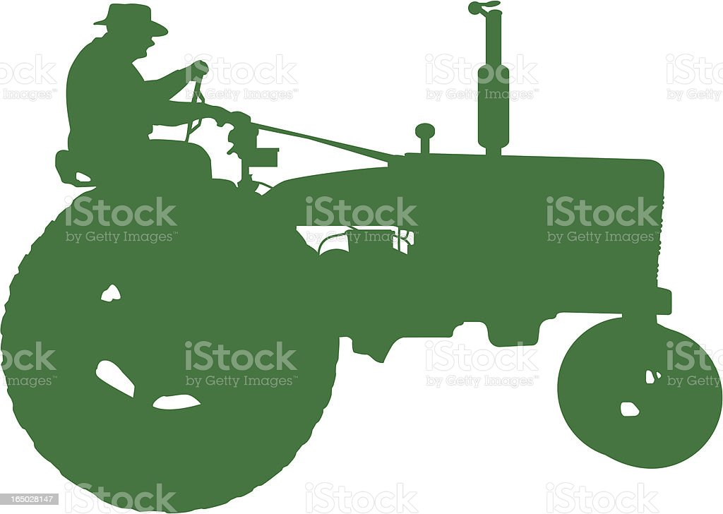 Farmer driving a tractor (vector) royalty-free stock vector art