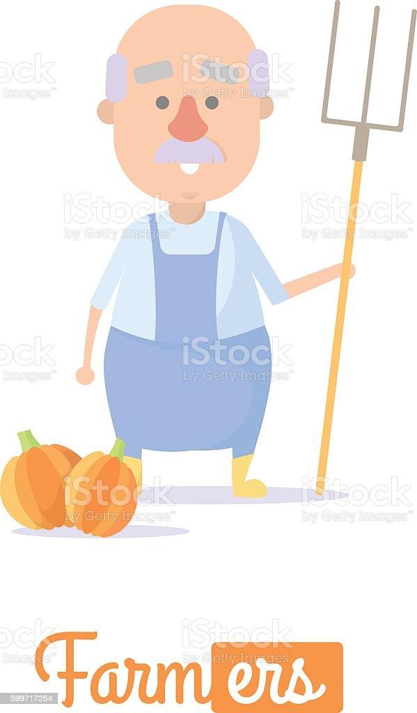 Farmer harvests. Vector illustration vector art illustration