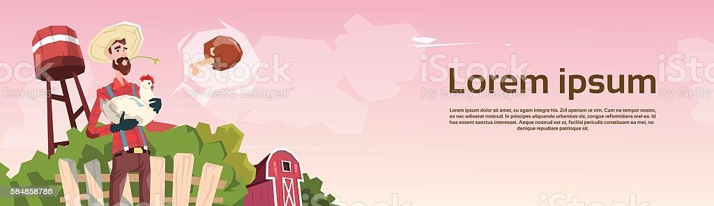 Farmer Hold Chicken Breeding Hen For Food Farm vector art illustration