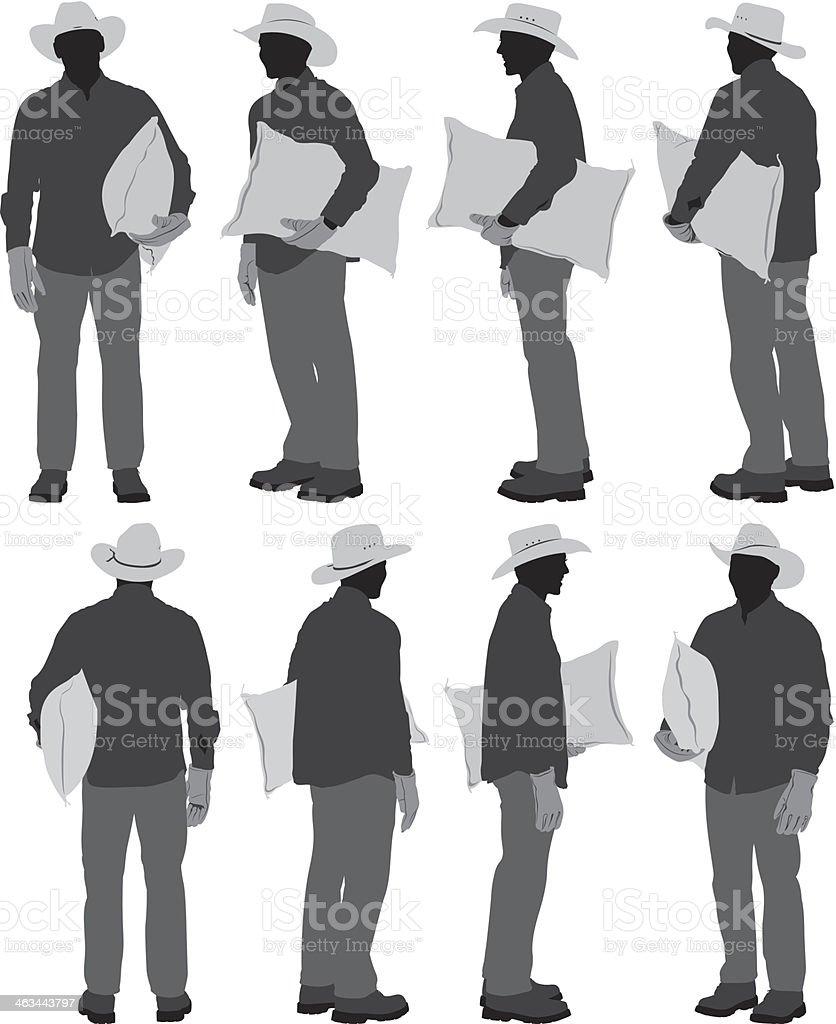 Farmer holding burlap sack vector art illustration