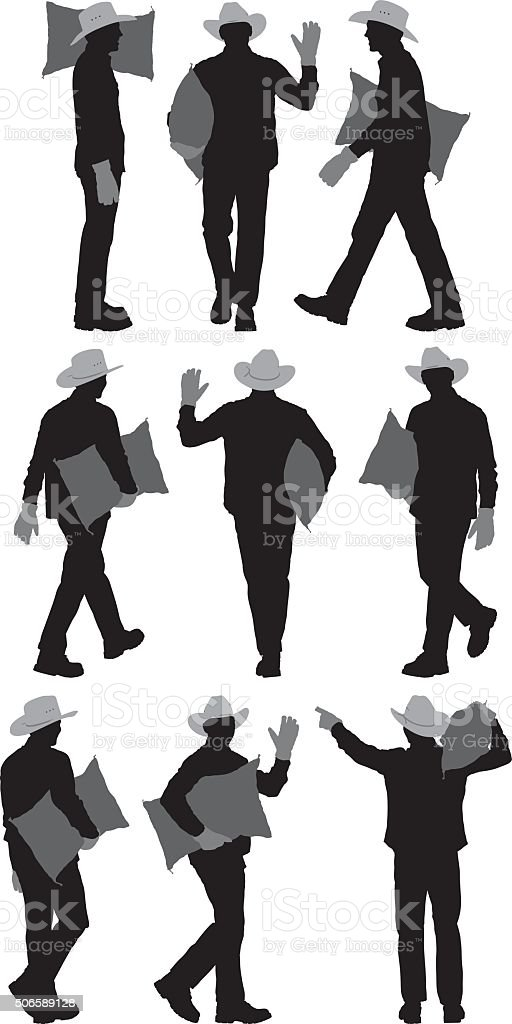 Farmer holding sack and in various actions vector art illustration