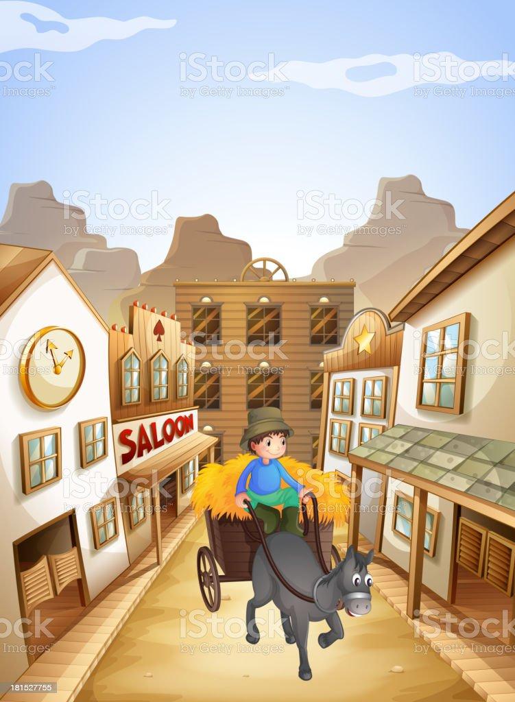 farmer near the saloon bar vector art illustration