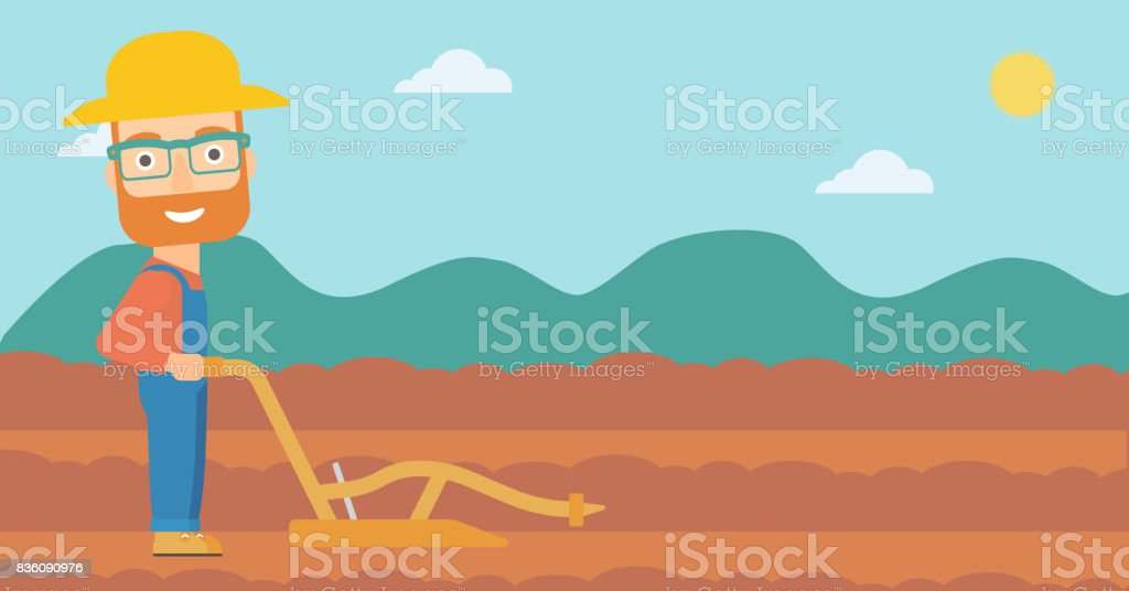 Farmer on the field with plough vector art illustration