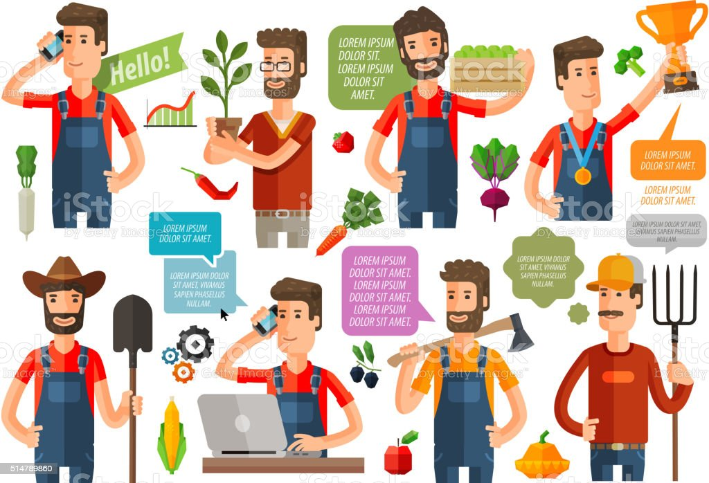 farmer or farming, gardening icons set. vector illustration vector art illustration
