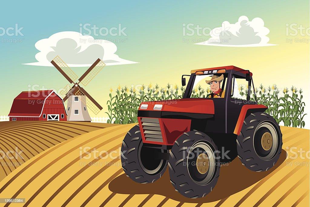 Farmer riding a tractor royalty-free stock vector art