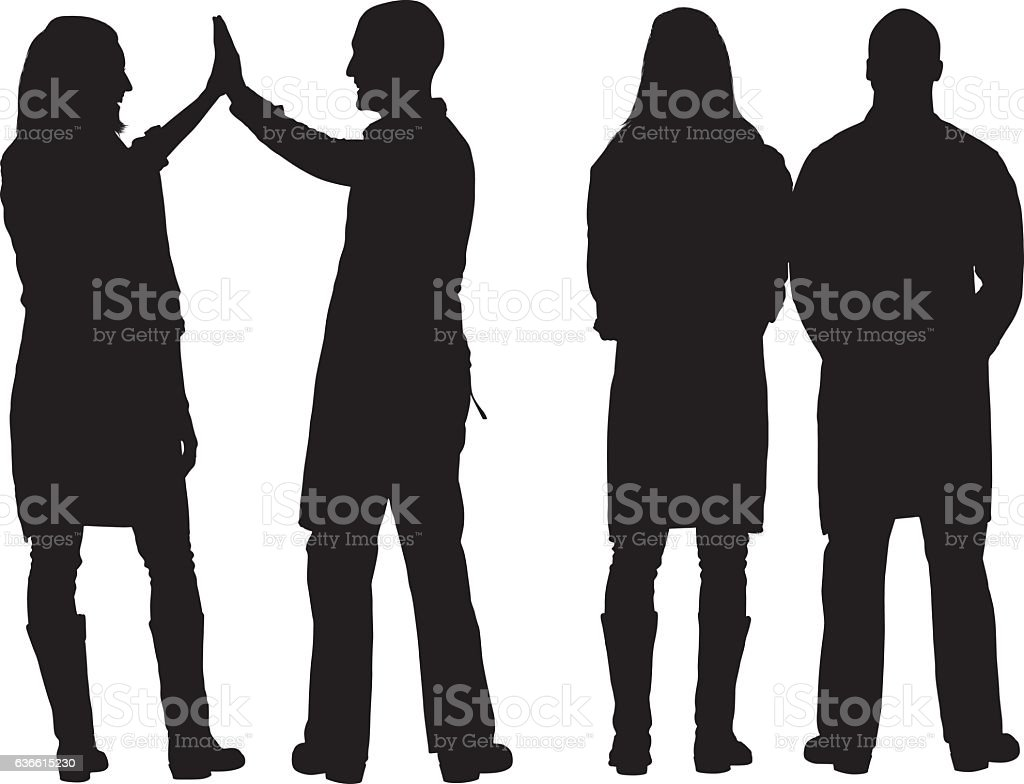 Farmer standing and giving high five vector art illustration