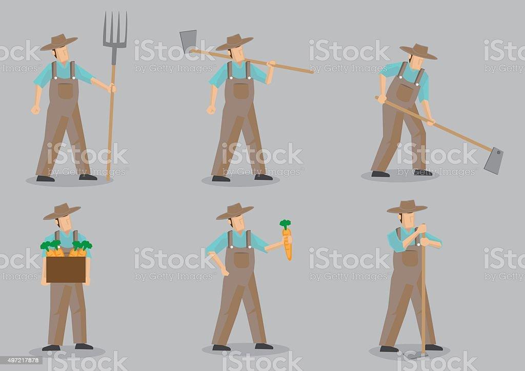 Farmer Vector Cartoon Character Set vector art illustration